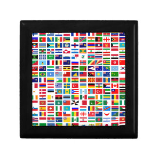 flags of the world against white keepsake box