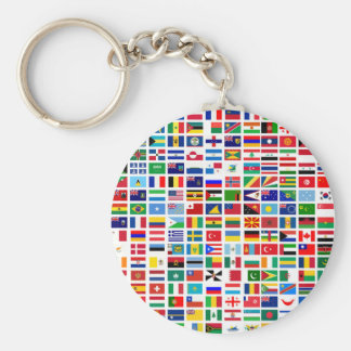 flags of the world against white keychain