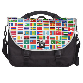 flags of the world against white laptop messenger bag
