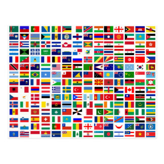 flags of the world against white postcard