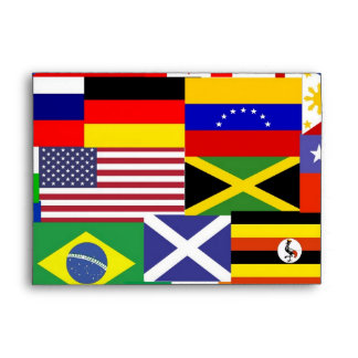 Flags of the world collage envelope