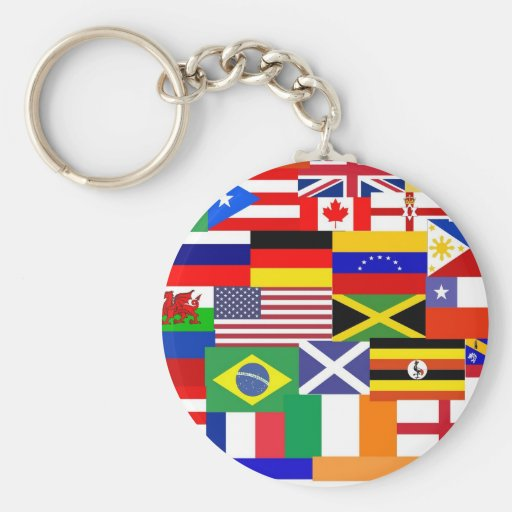 Flags of the world collage key chains