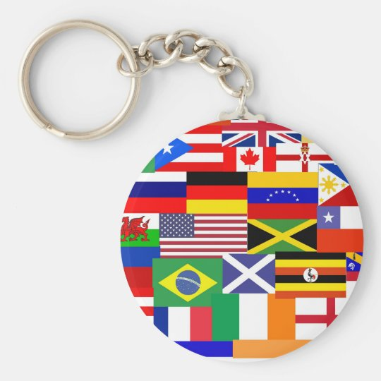 Flags of the world collage keychain