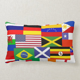 Flags of the world collage lumbar pillow