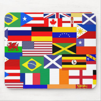 Flags of the world collage mouse pad