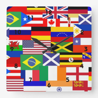 Flags of the world collage square wallclocks