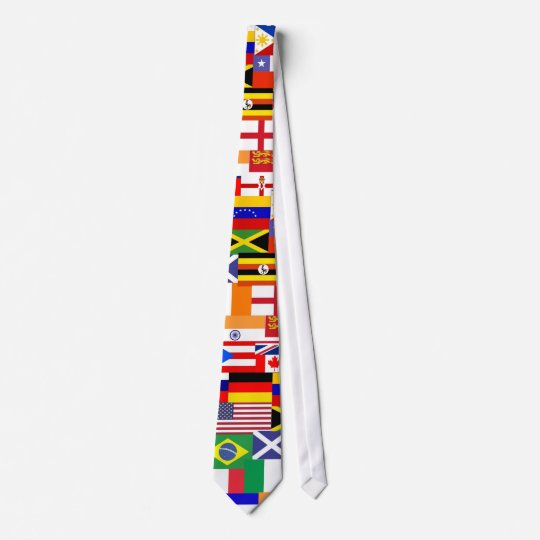 Flags of the world collage tie