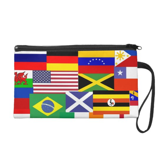 Flags of the world collage wristlet