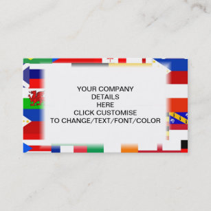 Change font business cards zazzle flags of the world collage business card reheart Choice Image
