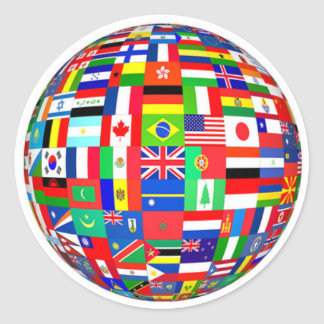 FLAGS OF THE WORLD - COLORFUL! CLASSIC ROUND STICKER