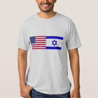 Flags of USA and Israel T Shirts