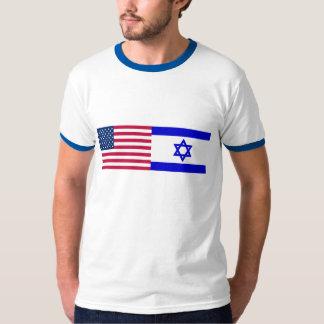 Flags of USA and Israel Tee Shirt