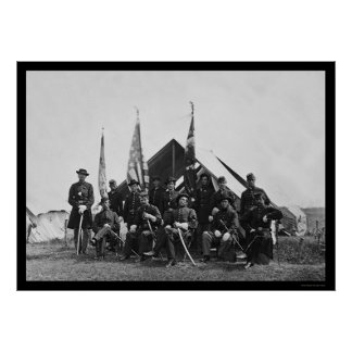 Flags & Officers near Washington, DC 1863 Print