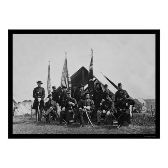 Flags & Officers near Washington, DC 1863 Poster