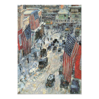Flags on 57th Street by Childe Hassam, Vintage Art Card
