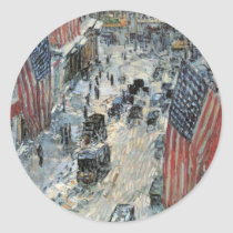Flags on 57th Street by Childe Hassam, Vintage Art Classic Round Sticker