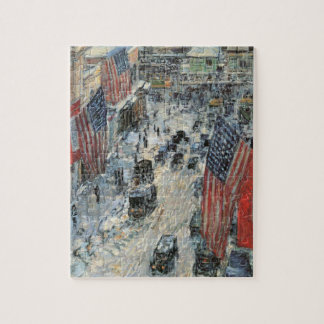 Flags on 57th Street by Childe Hassam, Vintage Art Jigsaw Puzzle