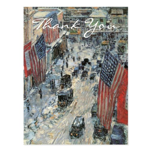 Flags on 57th Street by Frederick Childe Hassam Post Card