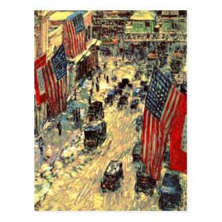 """Flags on Fifty-Seventh Street"" by Childe Hassam Postcard"