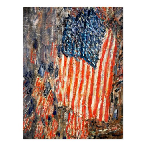 """""""""""Flags on the Waldorf"""" by Childe Hassam Post Card"""
