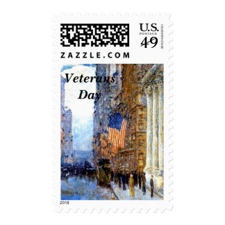 Flags on the Waldorf by Hassam Postage Stamp