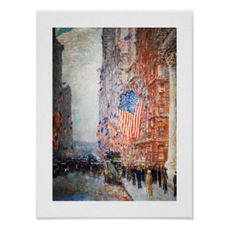 Flags on the Waldorf. Fine Art Poster