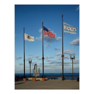 FLAGS OVER CHICAGO NAVY PIER POSTER