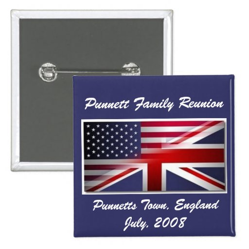 flags, Punnett Family Reunion, Punnetts Town, E... Pinback Button