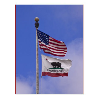 Flags: USA and state of California Postcards