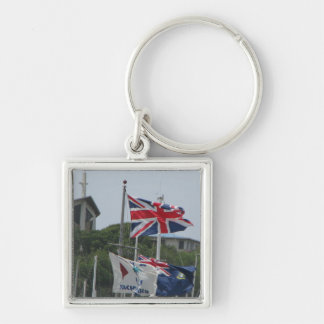 Flags @ Virgin Gorda Silver-Colored Square Keychain