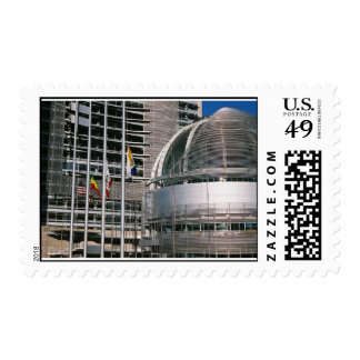 flags with city postage stamp