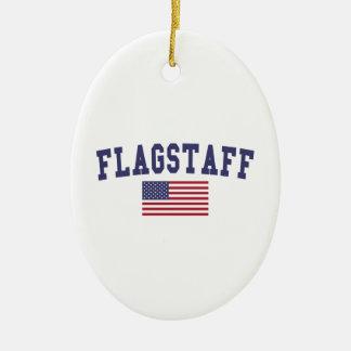 Flagstaff US Flag Ceramic Ornament