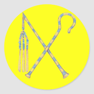 Flail and Crook Classic Round Sticker
