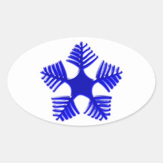 Flake blue glass snowflake glass blue oval stickers