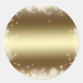 flake, gold round stickers