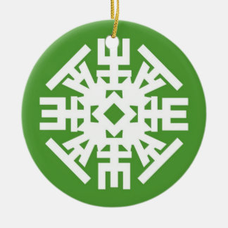 FLAKE Green 1 Double-Sided Ceramic Round Christmas Ornament