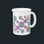"""Flakes Porcelain Pitcher<br><div class=""""desc"""">A bright,  cheerful,  and decorative design reminiscent of delicate snowflakes or colorful flowers or ... ?  This digital image is customizable,  including the background color.    BTHQ - Creating smiles,  one graphic at a time.</div>"""