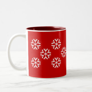 Flakes - red Two-Tone coffee mug