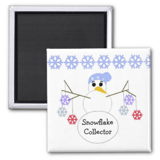 Flakey Snowman Snowflake Collector Refrigerator Magnet