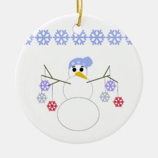 Flakey Snowman with Snowflakes Ceramic Ornament