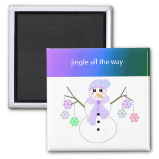 Flakie Snowman with Snowflakes Refrigerator Magnet
