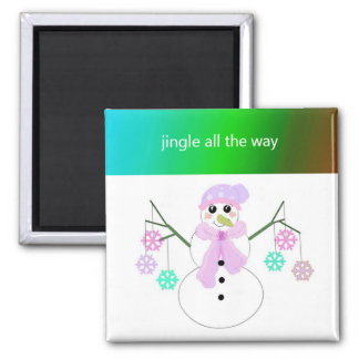 Flakie Snowman with Snowflakes Refrigerator Magnets