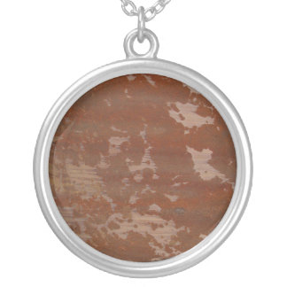 Flaking Rusting Metal Texture Background Silver Plated Necklace