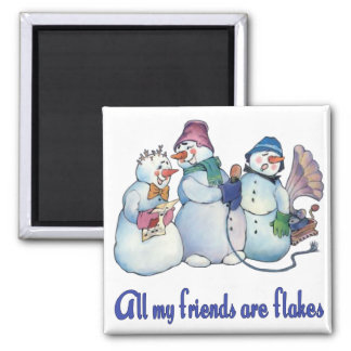 Flaky Friends 2 Inch Square Magnet