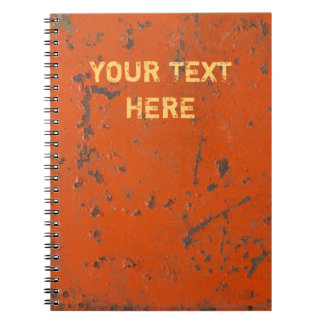 Flaky, scratched red paint. Faux rust and grunge Spiral Note Book