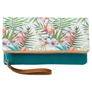 Flamboyant Flamingo Tropical nature garden pattern Clutch