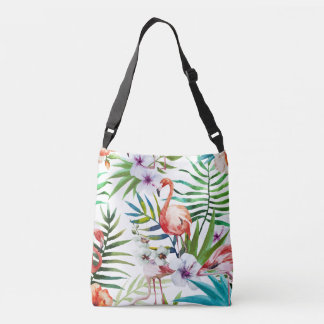 Flamboyant Flamingo Tropical nature garden pattern Crossbody Bag