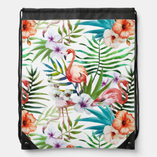 Flamboyant Flamingo Tropical nature garden pattern Drawstring Bag
