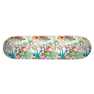 Flamboyant Flamingo Tropical nature garden pattern Skateboard Deck