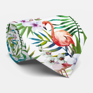 Flamboyant Flamingo Tropical nature garden pattern Tie